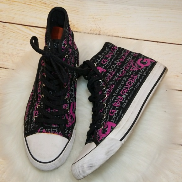 RARE Guess high top converse style graffiti shoes